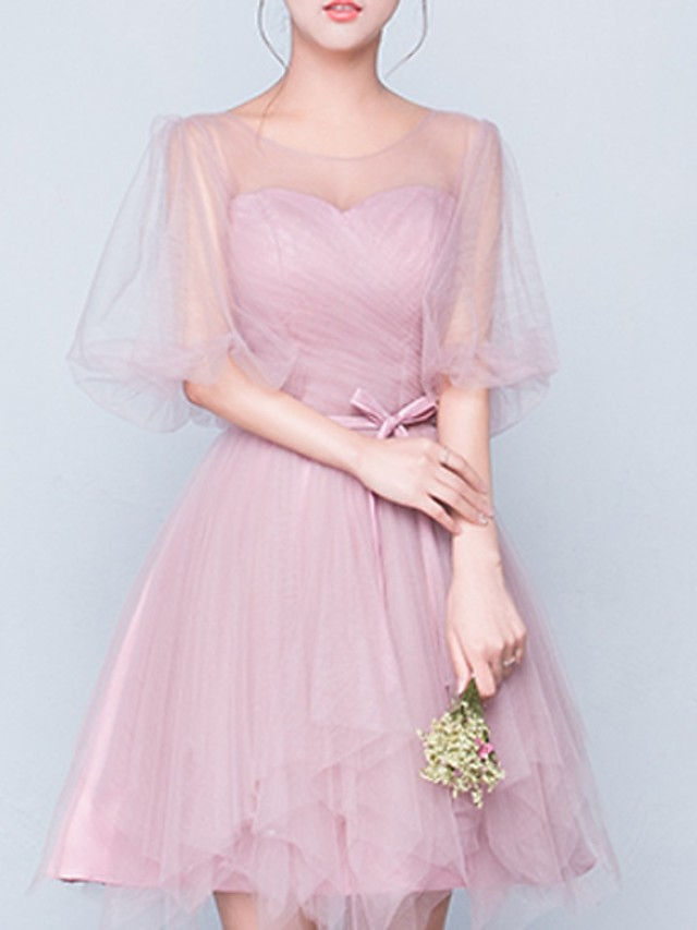 A-Line Elegant Wedding Guest Cocktail Party Dress Jewel Neck Half Sleeve Short / Mini Polyester with Tier 2020