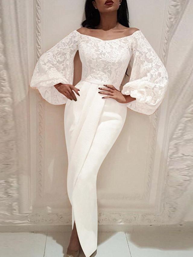 Women's Sheath Dress Maxi long Dress - Long Sleeve Solid Colored Off Shoulder Slim White S M L XL XXL
