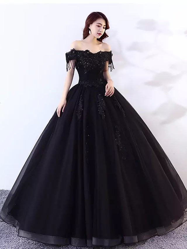 Ball Gown Wedding Dresses Off Shoulder Floor Length Lace Tulle Short Sleeve Sexy Black Modern with Lace Appliques 2020