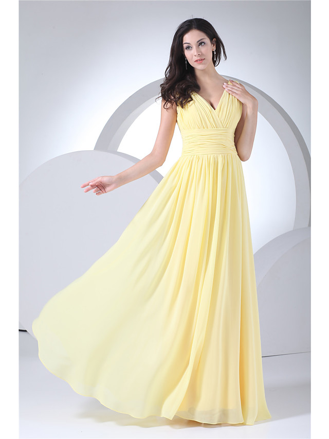 A-Line Elegant Formal Evening Dress V Neck Sleeveless Floor Length Chiffon with Ruched 2020