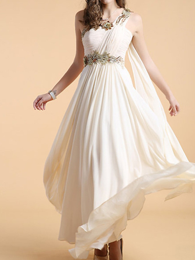 A-Line Empire White Holiday Formal Evening Dress One Shoulder Sleeveless Floor Length Polyester with Appliques 2020