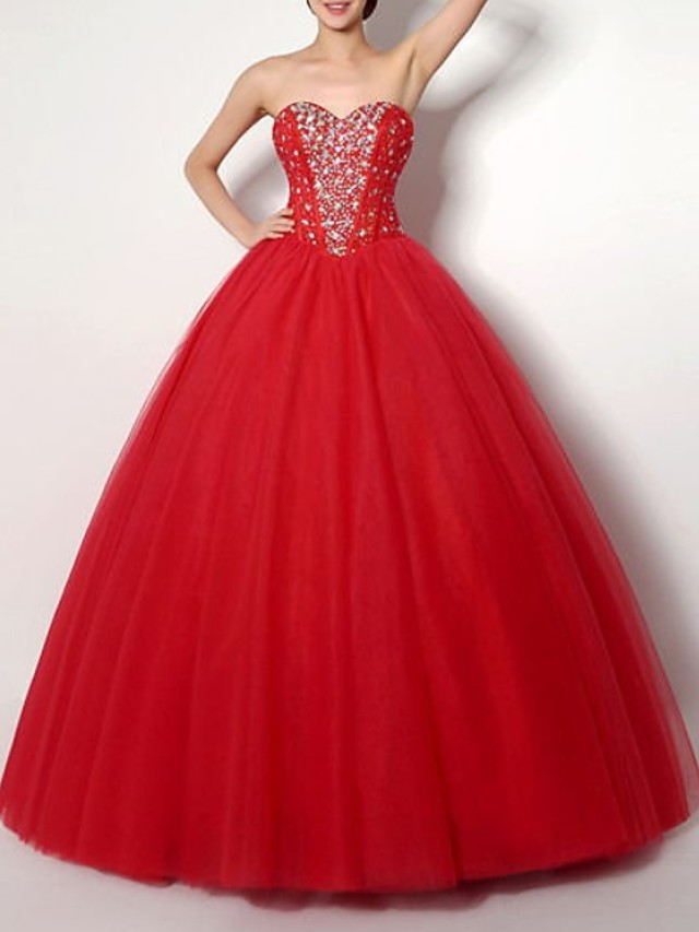 Ball Gown Sparkle Red Prom Formal Evening Dress Strapless Sleeveless Floor Length Polyester with Crystals 2020