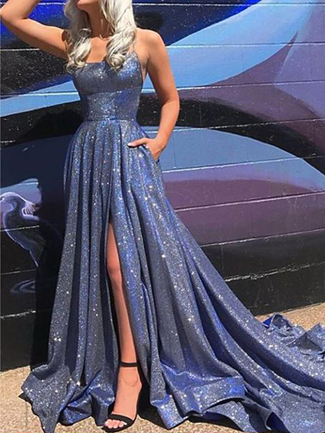 A-Line Celebrity Style Blue Prom Formal Evening Dress Scoop Neck Sleeveless Court Train Polyester with Split 2020