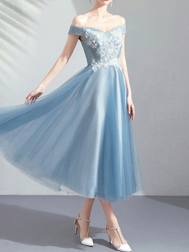 A-Line Off Shoulder Tea Length Tulle Bridesmaid Dress with Appliques