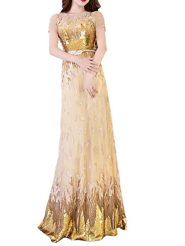 A-Line Sparkle Gold Prom Formal Evening Dress Illusion Neck Short Sleeve Floor Length Polyester with Sequin Appliques 2020
