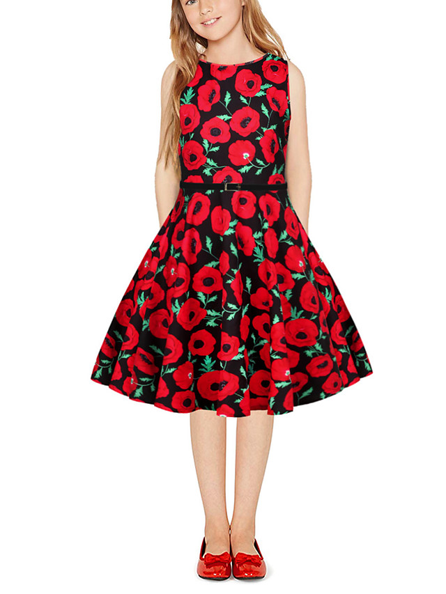 Kids Girls' Vintage Cute Plants Floral Patchwork Print Sleeveless Above Knee Dress Red