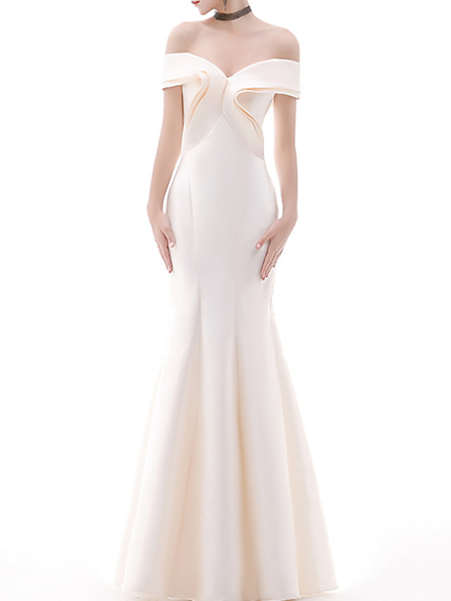 Mermaid / Trumpet Sexy Engagement Formal Evening Dress Off Shoulder Sleeveless Floor Length Polyester with Pleats Ruffles 2020