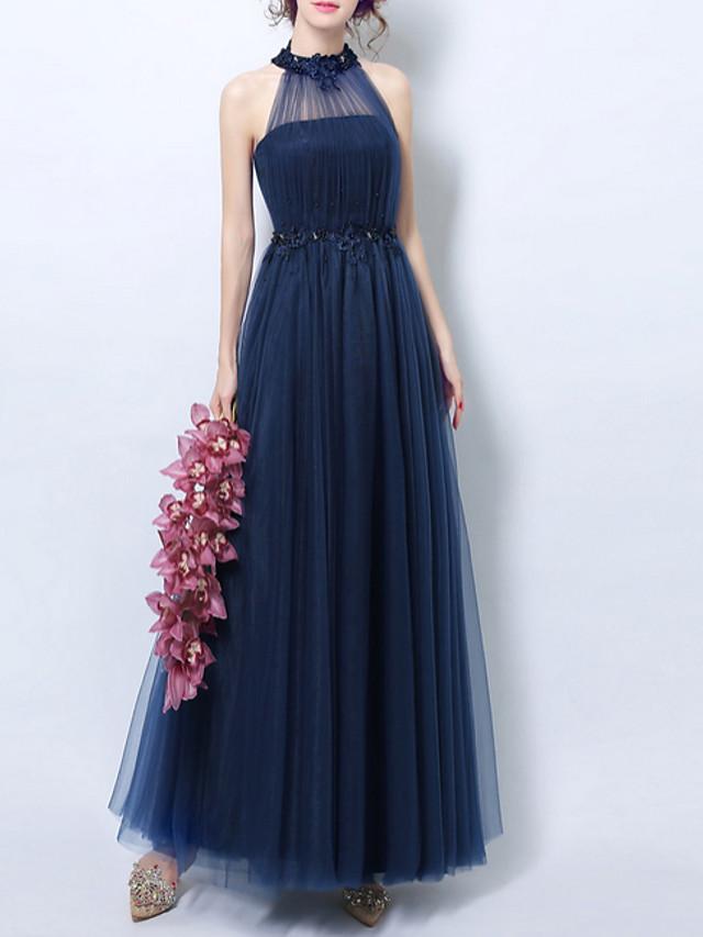 A-Line Halter Neck Floor Length Lace Bridesmaid Dress with Appliques