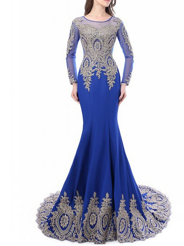 Mermaid / Trumpet Luxurious Blue Engagement Formal Evening Dress Jewel Neck Long Sleeve Sweep / Brush Train Lace with Embroidery Appliques 2020