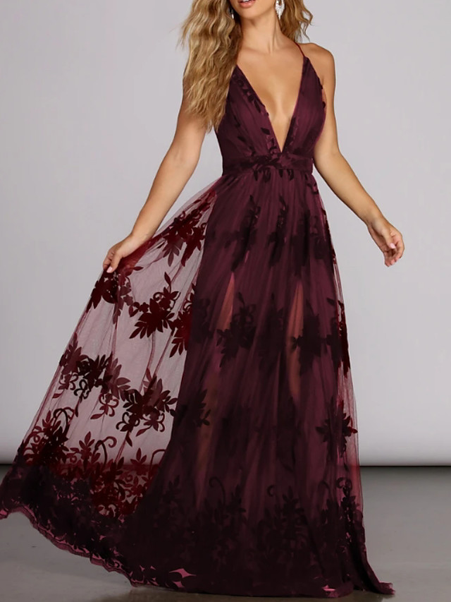 A-Line Elegant Red Engagement Prom Dress V Neck Sleeveless Floor Length Tulle with Pleats Appliques 2020