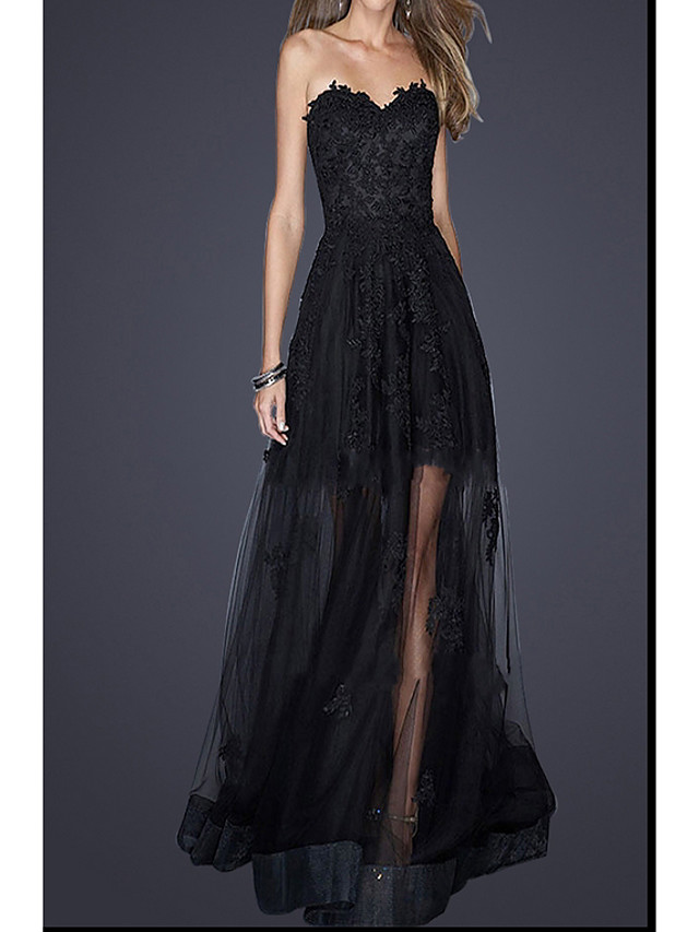 Sheath / Column Empire Black Prom Formal Evening Dress Strapless Sleeveless Floor Length Polyester with Appliques 2020