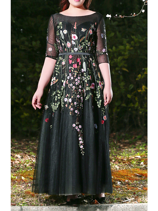 A-Line Plus Size Black Prom Formal Evening Dress Jewel Neck Half Sleeve Floor Length Lace Satin Tulle with Appliques 2020 / Illusion Sleeve