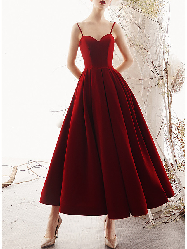 A-Line Elegant Red Wedding Guest Cocktail Party Dress Sweetheart Neckline Sleeveless Ankle Length Satin Velvet with Pleats 2020