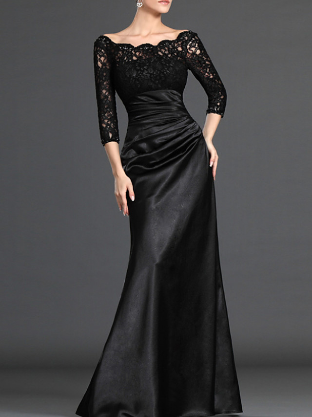 Sheath / Column Elegant Black Wedding Guest Formal Evening Dress Off Shoulder 3/4 Length Sleeve Floor Length Polyester with Ruched Lace Insert 2020