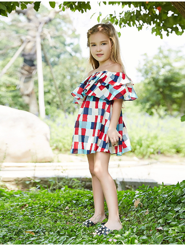 Kids Girls' Plaid Dress Red