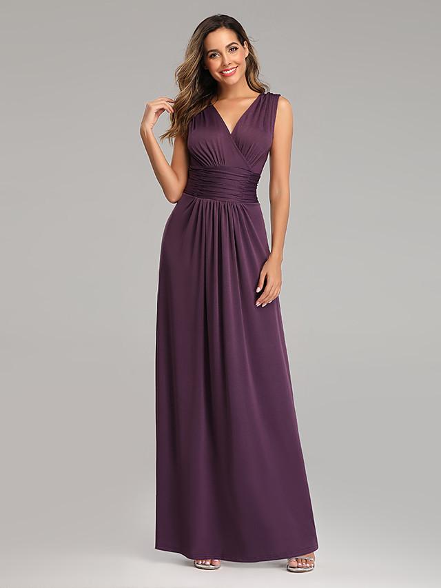 A-Line Minimalist Purple Wedding Guest Formal Evening Dress V Neck Short Sleeve Floor Length Chiffon Satin with Pleats 2020