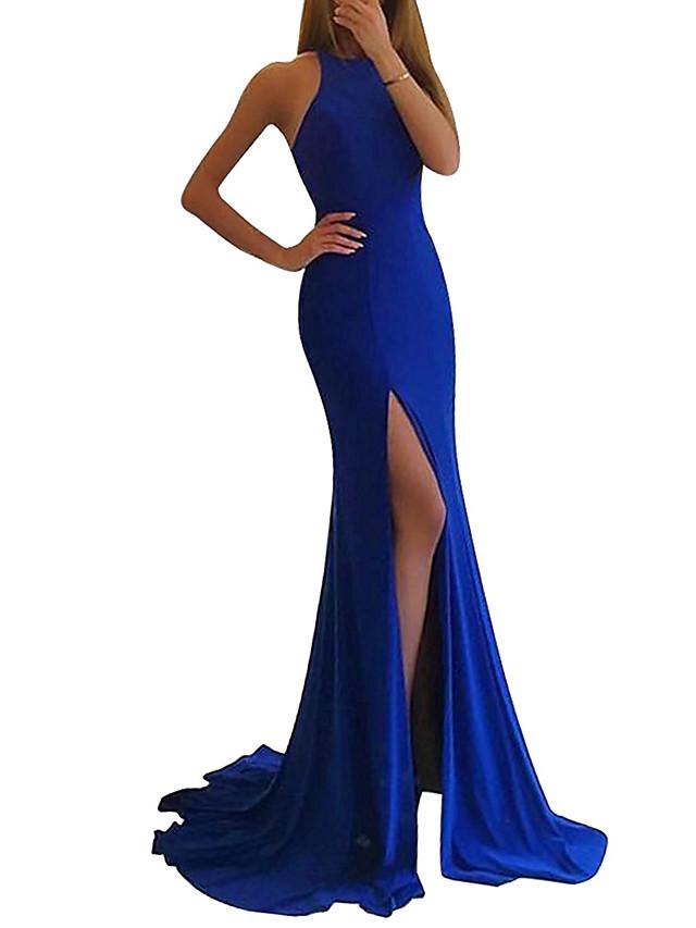 Mermaid / Trumpet Elegant Blue Party Wear Formal Evening Dress Jewel Neck Sleeveless Sweep / Brush Train Spandex with Split 2020