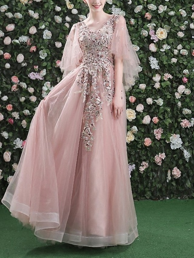 A-Line Floral Pink Prom Formal Evening Dress V Neck 3/4 Length Sleeve Floor Length Tulle with Sequin Appliques 2020