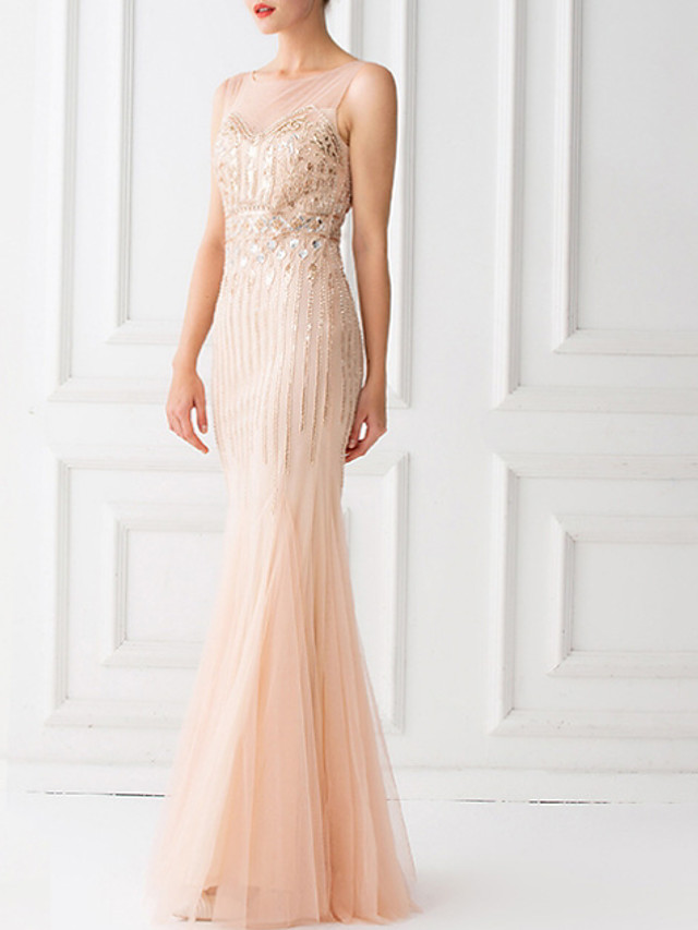 Sheath / Column Sparkle Pink Prom Formal Evening Dress Jewel Neck Sleeveless Floor Length Lace Tulle with Sequin 2020