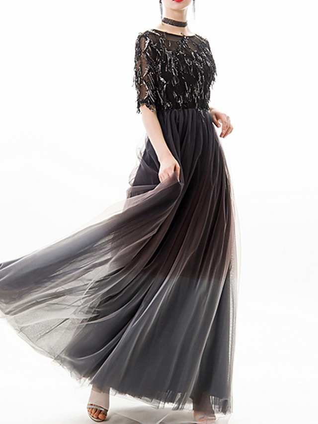A-Line Glittering Black Prom Formal Evening Dress Jewel Neck Half Sleeve Floor Length Polyester with Sequin Appliques 2020
