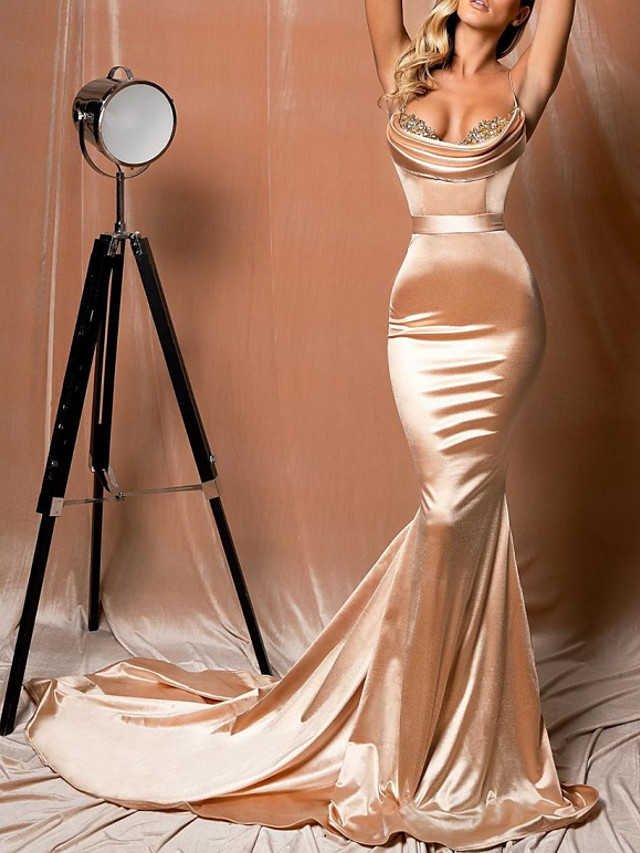 Mermaid / Trumpet Sexy Gold Engagement Formal Evening Dress Scoop Neck Sleeveless Court Train Polyester with Lace Insert Appliques 2020