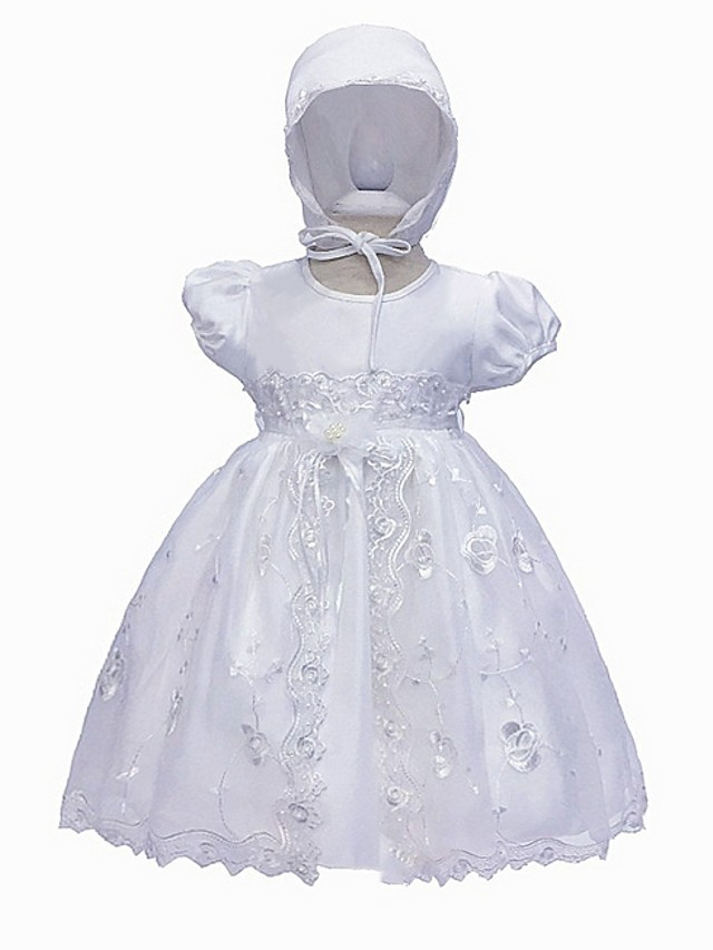 Ball Gown Floor Length Event / Party Christening Gowns - Polyester Short Sleeve Jewel Neck with Lace / Bow(s) / Appliques