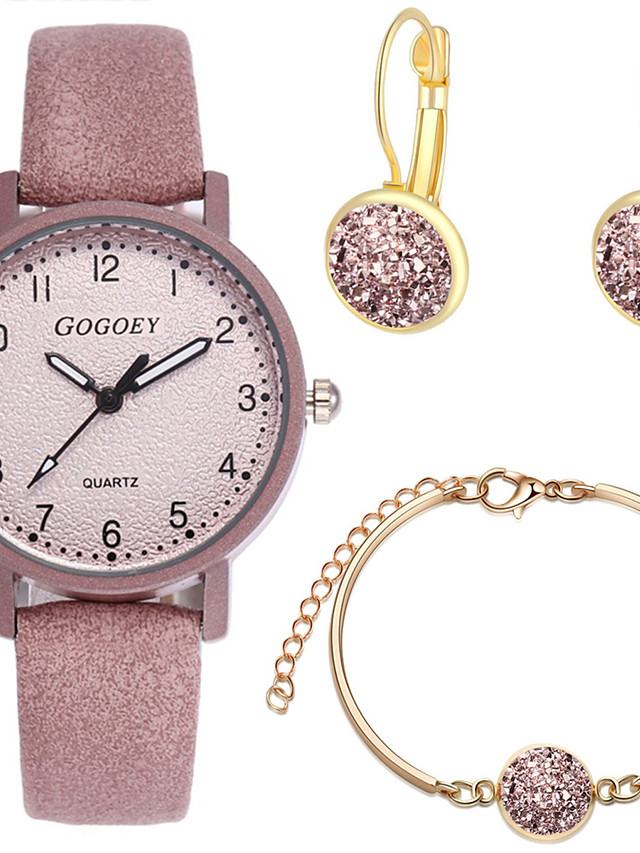 Women's Quartz Watches New Arrival Fashion White Red Pink PU Leather Chinese Quartz Blushing Pink Red White Chronograph Cute New Design 3 Pieces Analog One Year Battery Life