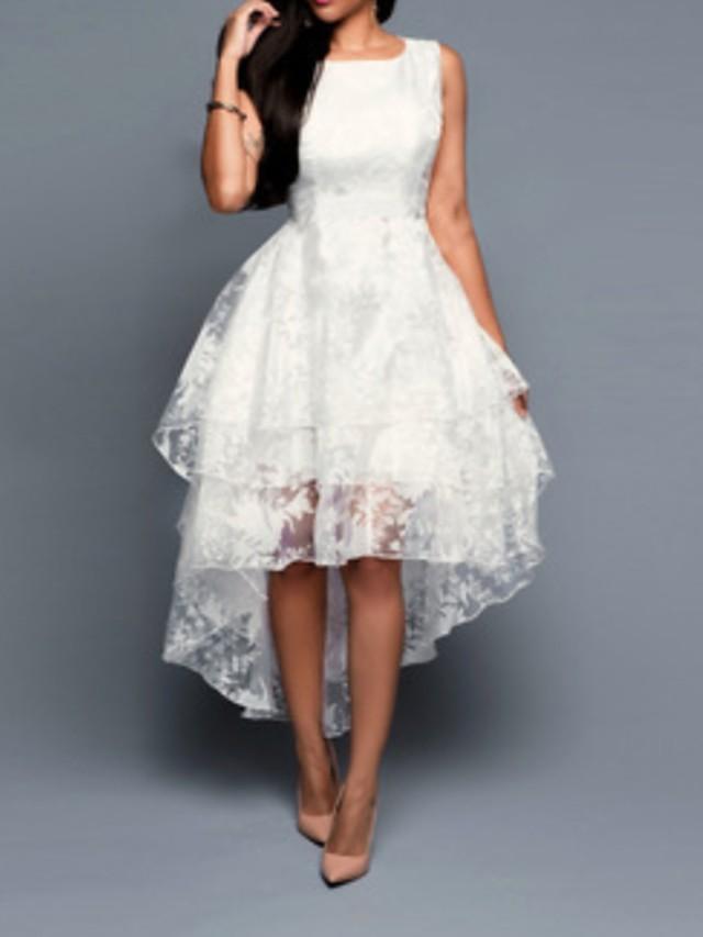 Women's A Line Dress - Sleeveless Floral White Black Blushing Pink Gray S M L XL XXL XXXL XXXXL XXXXXL