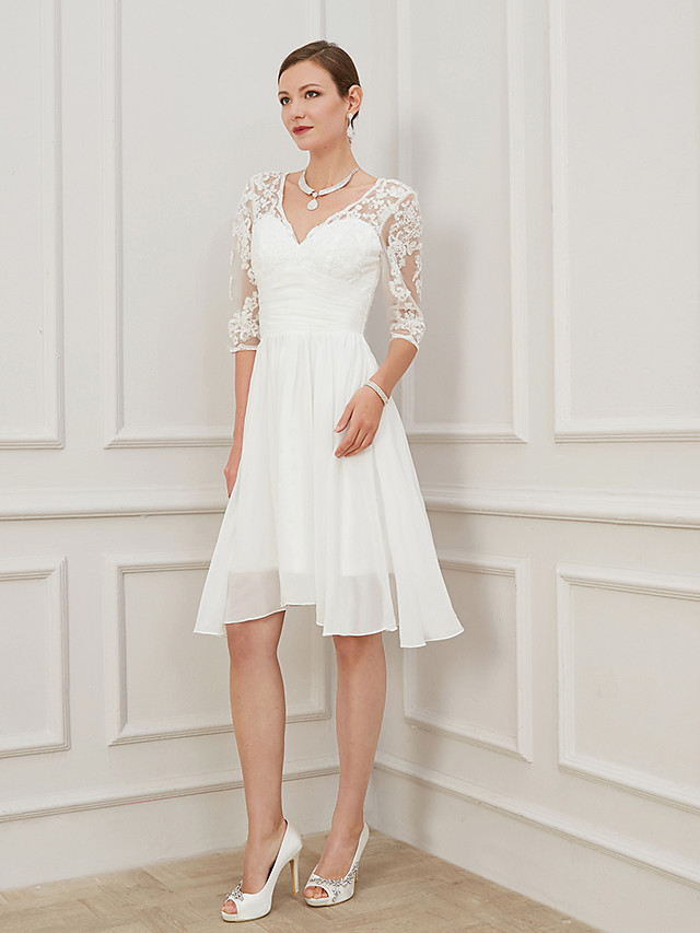 A-Line Wedding Dresses V Neck Knee Length Chiffon Lace Half Sleeve Formal Plus Size Illusion Sleeve with Draping Appliques 2020