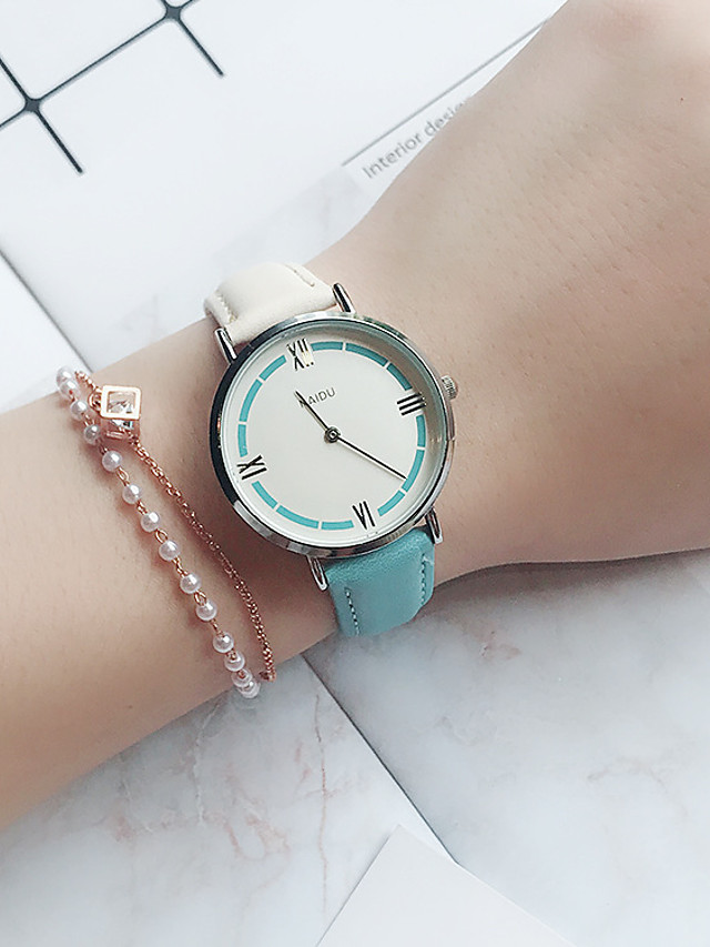 Women's Quartz Watches New Arrival Fashion White Blue Pink PU Leather Chinese Quartz White+Blue White+Pink Blushing Pink Chronograph Cute New Design 1 pc Analog One Year Battery Life