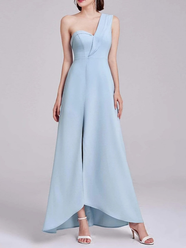 A-Line Sexy Blue Holiday Formal Evening Dress One Shoulder Sleeveless Asymmetrical Chiffon with Split 2020