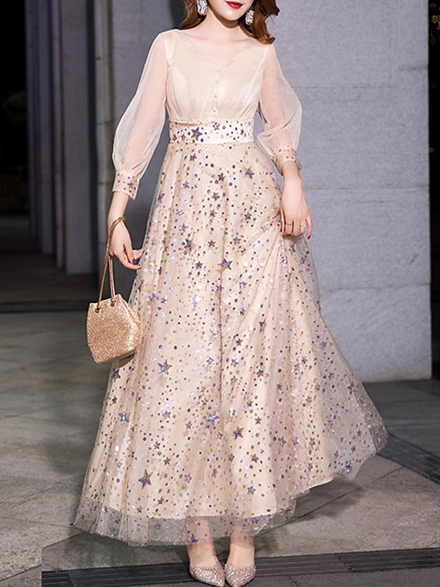 A-Line Elegant Glittering Prom Formal Evening Dress V Neck 3/4 Length Sleeve Floor Length Tulle with Sequin 2020