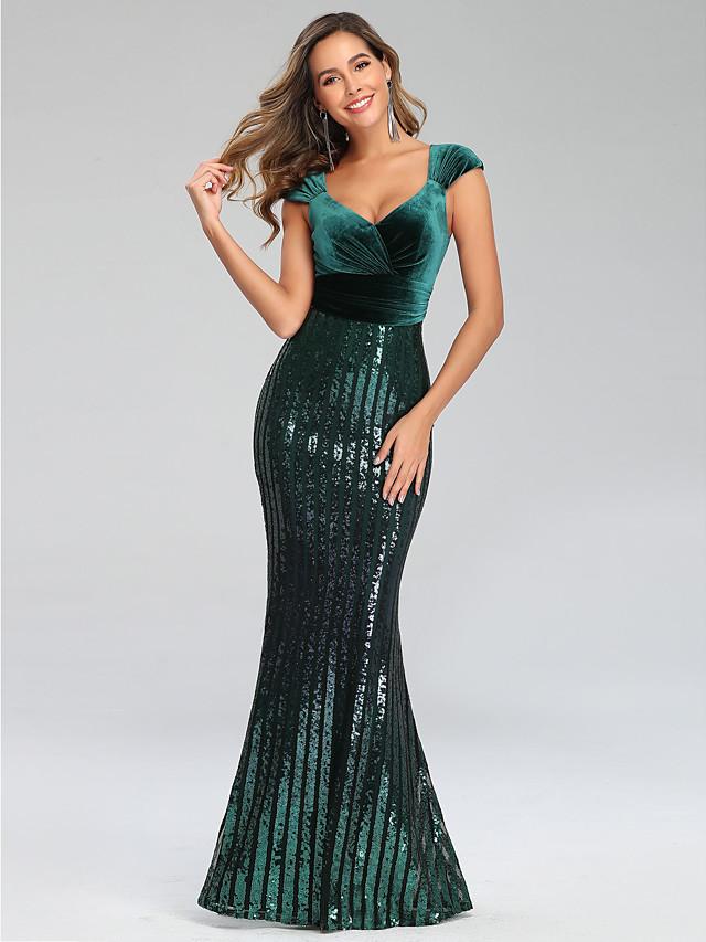 Mermaid / Trumpet Sexy Sparkle Engagement Formal Evening Dress V Neck Short Sleeve Floor Length Velvet with Sequin 2020