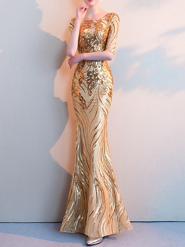 Mermaid / Trumpet Sparkle Gold Party Wear Formal Evening Dress Jewel Neck Half Sleeve Floor Length Polyester with Sequin 2020