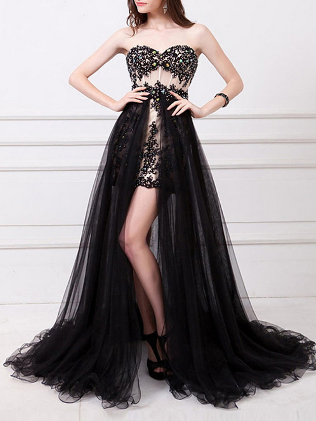 A-Line Sexy Black Prom Formal Evening Dress Strapless Sleeveless Floor Length Polyester with Split Appliques 2020