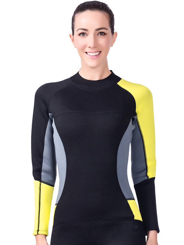 Women's Full Wetsuit 3mm SCR Neoprene Diving Suit Thermal / Warm Stretchy Long Sleeve Back Zip - Diving Water Sports Patchwork Solid Colored Autumn / Fall Spring Summer / Winter / High Elasticity