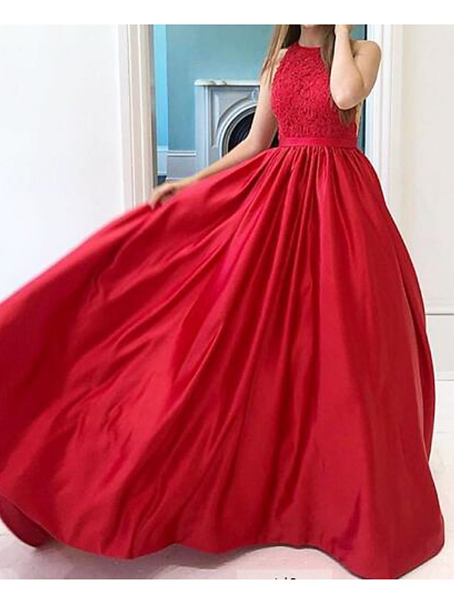 A-Line Minimalist Red Wedding Guest Engagement Dress Jewel Neck Sleeveless Floor Length Lace with Sleek Pleats 2020