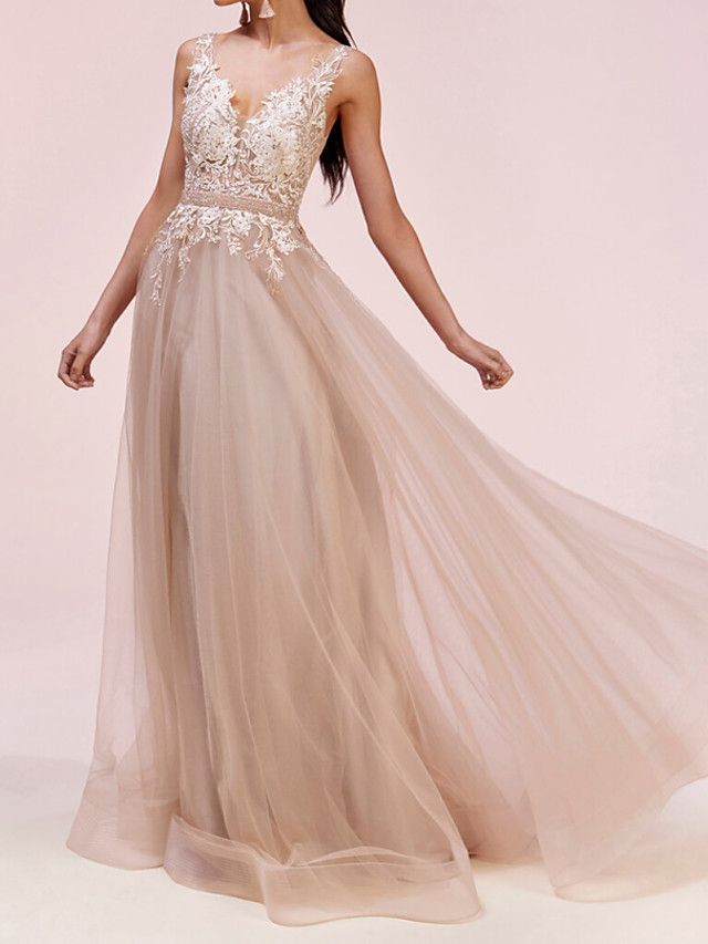 A-Line Elegant Engagement Prom Dress V Neck Sleeveless Floor Length Tulle with Pleats Appliques 2020