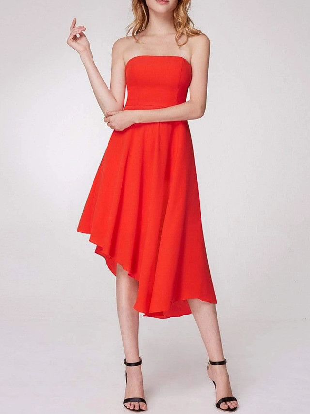 A-Line Minimalist Sexy Wedding Guest Cocktail Party Dress Strapless Sleeveless Asymmetrical Chiffon with Pleats 2021
