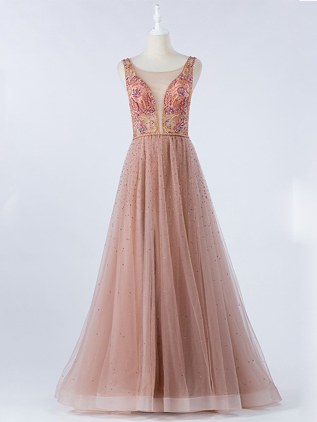 A-Line Luxurious Pink Prom Formal Evening Dress Illusion Neck Sleeveless Floor Length Tulle with Crystals Beading 2020