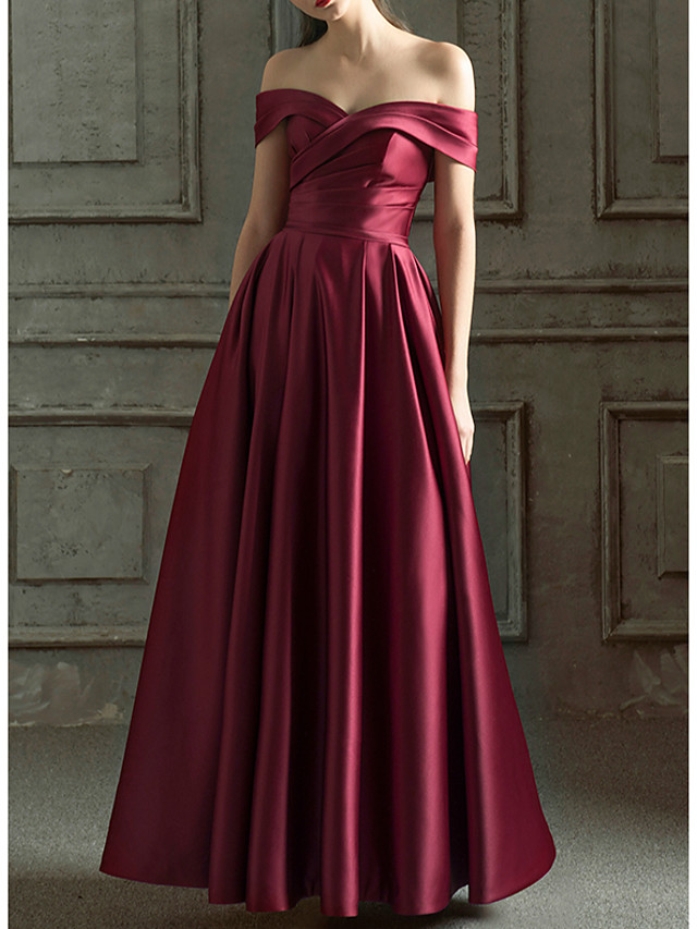 A-Line Minimalist Red Prom Formal Evening Dress Off Shoulder Short Sleeve Floor Length Satin with Pleats Ruched 2020