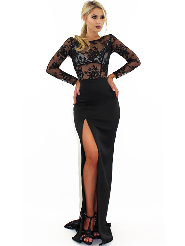 A-Line Jewel Neck Sweep / Brush Train Lace Sexy / Black Party Wear / Formal Evening Dress with Split 2020