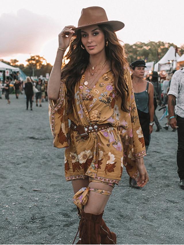 Γυναικεία Φόρεμα σε ευθεία γραμμή Μίνι φόρεμα - Μακρυμάνικο Στάμπα Βαθύ V Κίτρινο Τ M L XL