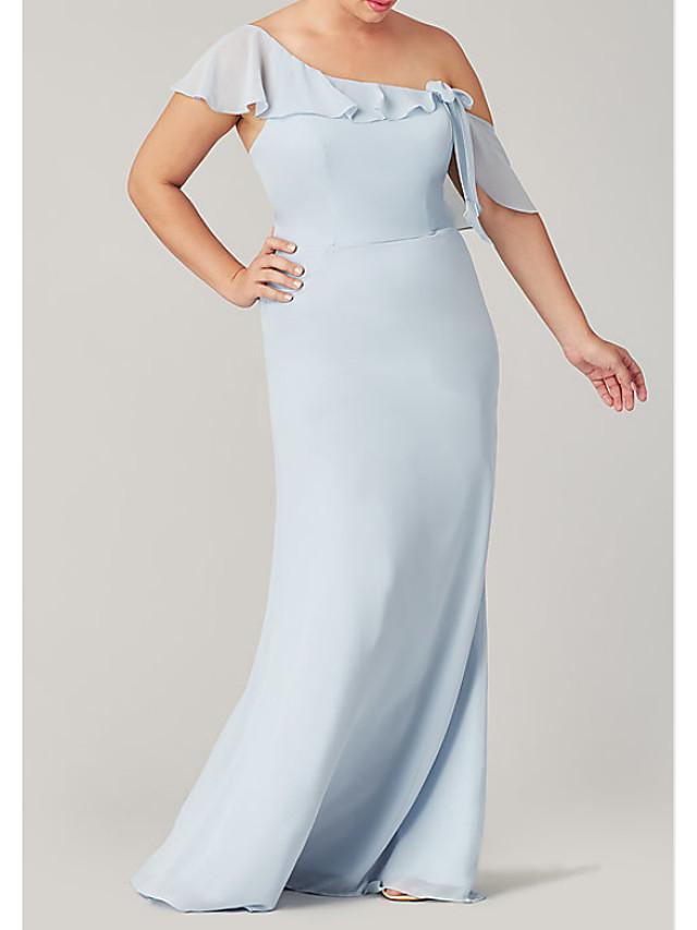 Sheath / Column One Shoulder Floor Length Polyester Bridesmaid Dress with Ruffles