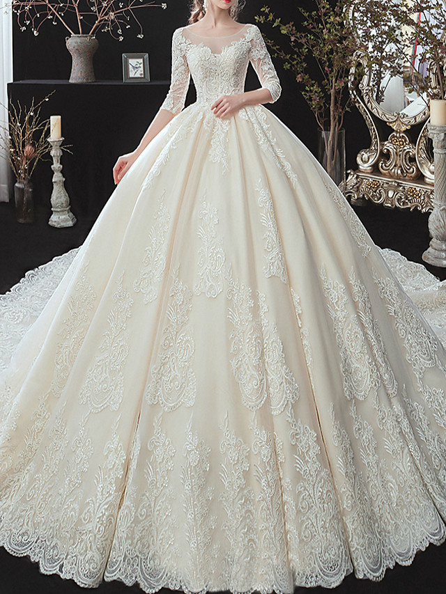 Ball Gown Wedding Dresses Jewel Neck Watteau Train Lace Tulle Lace Over Satin 3/4 Length Sleeve Formal Plus Size Illusion Sleeve with Lace Lace Insert 2020