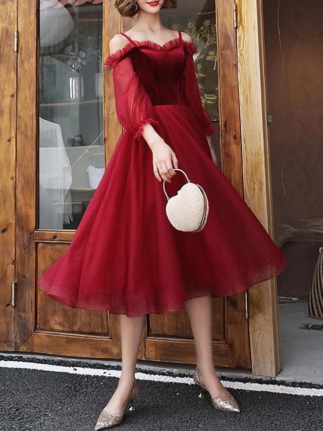 A-Line Elegant Red Cocktail Party Prom Dress Off Shoulder Half Sleeve Tea Length Tulle Velvet with Pleats 2020