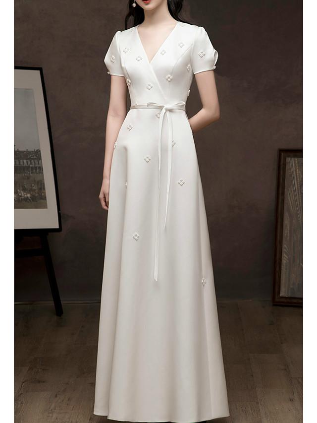 A-Line Floral White Prom Formal Evening Dress V Neck Short Sleeve Floor Length Satin with Sash / Ribbon Beading 2020
