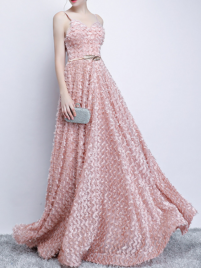 A-Line Pink Spring Engagement Prom Dress V Neck Sleeveless Floor Length Polyester with Sash / Ribbon Appliques 2020