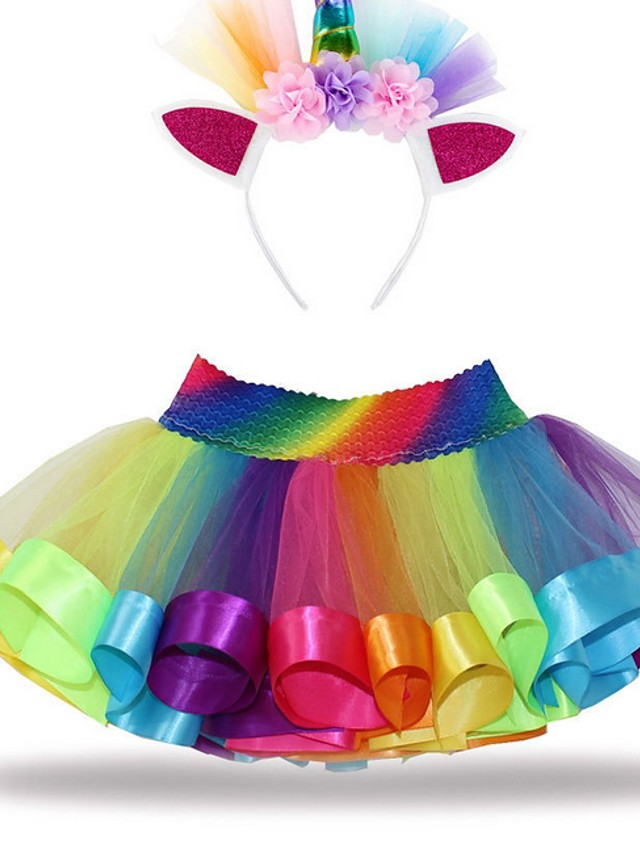 Kids Girls' Color Block Dress Rainbow