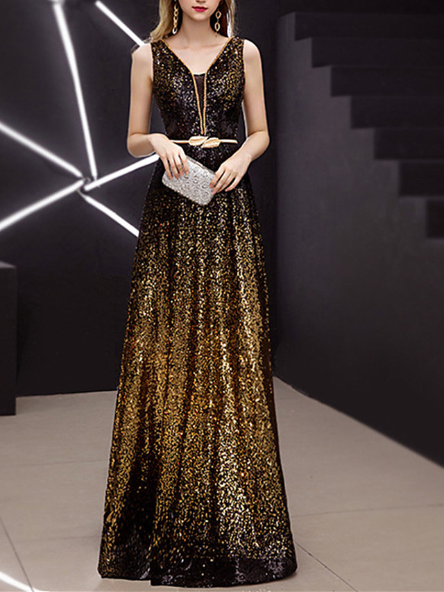 A-Line Sparkle Gold Prom Formal Evening Dress V Neck Sleeveless Floor Length Sequined Spandex with Sash / Ribbon Sequin 2020